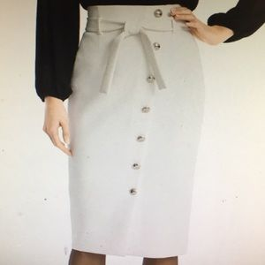Asymmetrical button -front pencil skirt